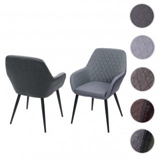2x Esszimmerstuhl HWC-D35, Stuhl Küchenstuhl, Stoff/Textil Retro ~ Kunstleder vintage grau