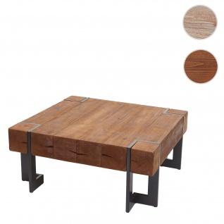 Couchtisch HWC-A15, Wohnzimmertisch, Tanne Holz rustikal massiv ~ braun 90x90cm