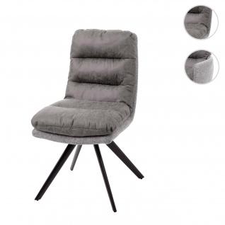 Esszimmerstuhl HWC-G66, Küchenstuhl Stuhl, drehbar Auto-Position Stoff/Textil hellgrau-grau