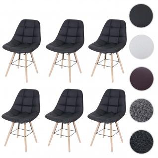 6x Esszimmerstuhl HWC-A60 II, Stuhl Küchenstuhl, Retro 50er Jahre Design ~ Kunstleder schwarz