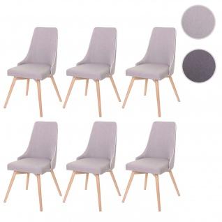 6x Esszimmerstuhl HWC-B44, Stuhl Küchenstuhl, Retro 50er Jahre Design Stoff/Textil grau - Vorschau 1