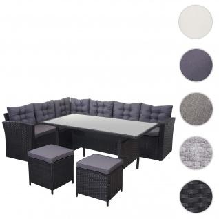 Poly-Rattan-Garnitur HWC-A29, Gartengarnitur Sitzgruppe Lounge-Esstisch-Set, schwarz ~ Kissen dunkelgrau, mit 2x Hocker