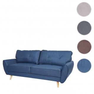 3er-Sofa HWC-J19, Couch Klappsofa Lounge-Sofa, Schlaffunktion ~ Stoff/Textil blau