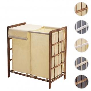 Wäschesammler HWC-B60, Laundry Wäschebox Wäschekorb, Massiv-Holz 2 Fächer 60x60x33cm 68l ~ braun, Bezug creme