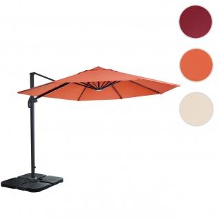 Gastronomie-Ampelschirm HWC-A96, Sonnenschirm, rund Ø 3m Polyester Alu/Stahl 23kg ~ terrakotta mit Ständer, drehbar