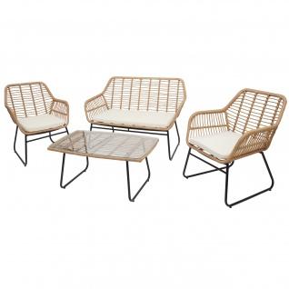 Polyrattan Garnitur HWC-G17a, Gartengarnitur Sofa Set Sitzgruppe ~ naturfarben, Polster creme ohne Dekokissen - Vorschau 2