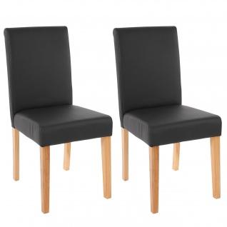 2x Esszimmerstuhl Stuhl Küchenstuhl Littau ~ Kunstleder, schwarz matt, helle Beine