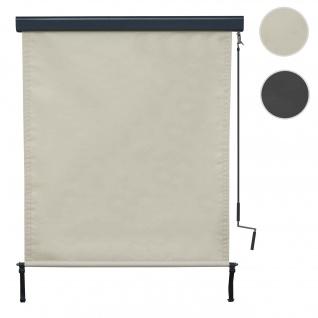 Vertikalmarkise HWC-F42, Senkrechtmarkise Sichtschutz Außenrollo Rollo, UV-Schutz 50 Stoff ~ 250x140cm, creme-beige