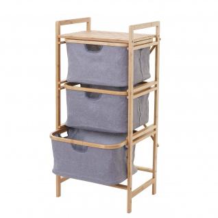 Wäschesammler HWC-B56, Regal Wäschesortierer Wäschekorb Badregal Aufbewahrung, Bambus 96x44x34cm 78l - Vorschau 1