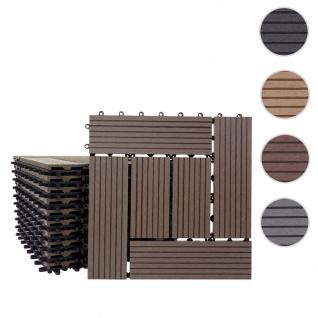 WPC Bodenfliese Rhone, Holzoptik Balkon/Terrasse, 11x je 30x30cm = 1qm ~ Basis, coffee versetzt