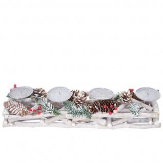 Adventskranz länglich, Weihnachtsdeko Adventsgesteck, Holz 11x15x50cm weiß-grau - Vorschau 2