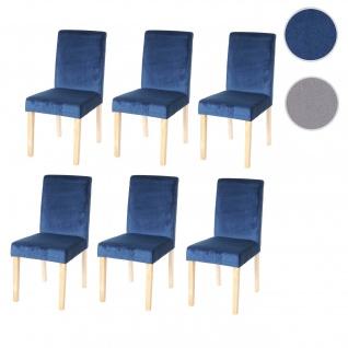 6x Esszimmerstuhl Stuhl Küchenstuhl Littau, Samt petrol, helle Beine