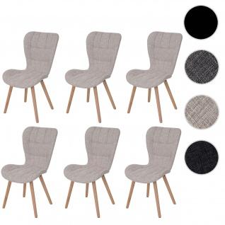 6x Esszimmerstuhl HWC-A87, Stuhl Küchenstuhl, Retro 50er Jahre Design ~ Textil, creme