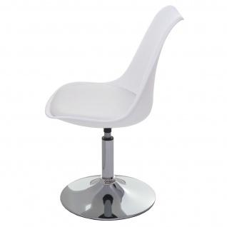 Drehstuhl Malmö T501, Stuhl Küchenstuhl, höhenverstellbar, Kunstleder ~ weiß, Chromfuß - Vorschau 5