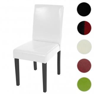 Esszimmerstuhl Littau, Küchenstuhl Stuhl, Kunstleder ~ weiß, dunkle Beine