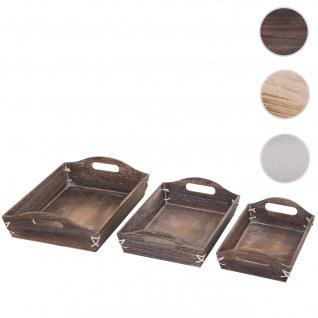3er Set Tablett HWC-C50, Serviertablett Holztablett Frühstückstablett Dekotablett, Shabby-Look Vintage ~ braun, shabby