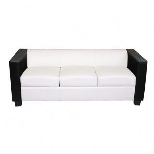 3er Sofa Couch Loungesofa Lille, Kunstleder/Leder weiß/schwarz