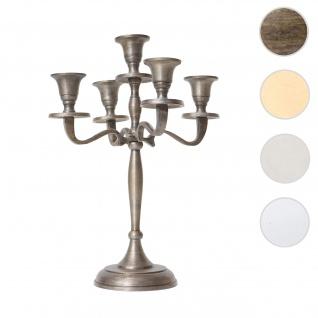 Kerzenleuchter HWC-D81, Kerzenständer Leuchter Kerzenhalter, 5-armig aus Aluminium 31cm massiv 0, 6kg ~ Farbe: Antik Gold