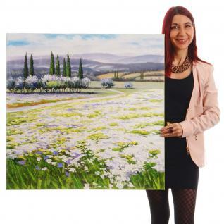Ölgemälde Blumenlandschaft, 100% handgemalt, 80x80cm - Vorschau 2