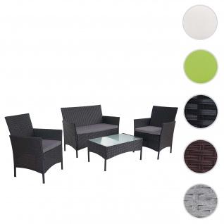 2-1-1 Poly-Rattan Garten-Garnitur Halden, Sitzgruppe Lounge-Set Sofa ~ anthrazit, Kissen anthrazit