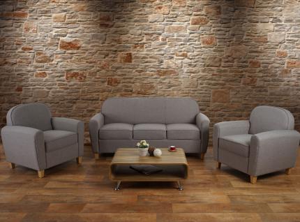 3-1-1 Sofagarnitur Malmö T377, Couch, Retro grau, Textil