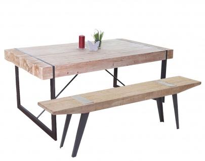 Esszimmergarnitur HWC-A15b, Esstisch + 1x Sitzbank, Tanne Holz rustikal massiv 160cm
