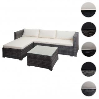 Poly-Rattan Garnitur HWC-F57, Balkon-/Garten-/Lounge-Set Sofa Sitzgruppe ~ grau, Kissen creme mit Deko-Kissen