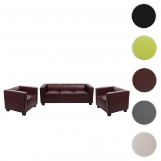 3-1-1 Sofagarnitur Couchgarnitur Loungesofa Lille ~ Kunstleder, rot-braun