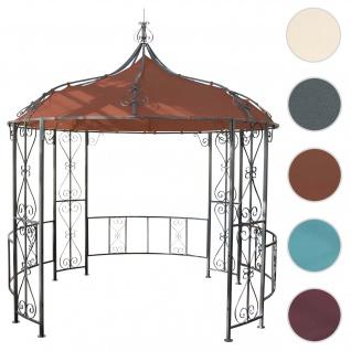 Pergola Almeria, Rundpavillon Garten Pavillon, stabiles Stahl-Gestell Ø 3m ~ terrakotta-braun