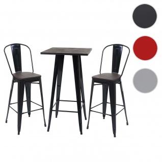 Set Stehtisch + 2x Barhocker HWC-A73 inkl. Holz-Tischplatte, Barstuhl Bartisch, Metall Industriedesign ~ schwarz