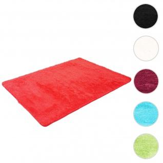Teppich HWC-F69, Shaggy Läufer Hochflor Langflor, Stoff/Textil flauschig weich 200x140cm ~ rot