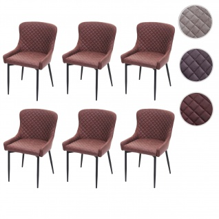 6x Esszimmerstuhl HWC-H79, Küchenstuhl Lehnstuhl Stuhl, Vintage Metall ~ Stoff/Textil braun