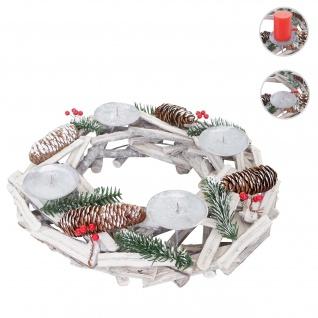 Adventskranz rund, Weihnachtsdeko Tischkranz, Holz Ø 40cm weiß-grau ~ ohne Kerzen