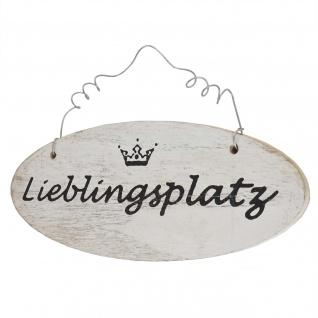 Wandschild Lieblingsplatz, Dekoschild, Shabby-Look 10x25x1cm weiß - Vorschau 2