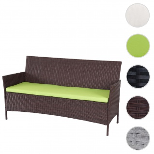 3-Sitzer Poly-Rattan Gartenbank Halden, Sitzbank ~ braun-meliert, Kissen grün
