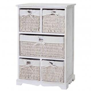 Kommode Dundee, Schubladenschrank, Shabby-Look Vintage 90x60x30cm weiß