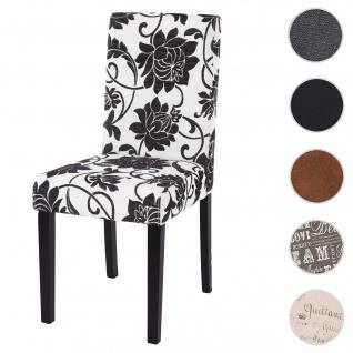 Esszimmerstuhl Littau, Küchenstuhl Stuhl, Stoff/Textil ~ jacquard schwarz, dunkle Beine