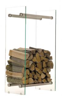 Kaminholzständer CP317, Feuerholzregal 35x60x80 ~ klarglas