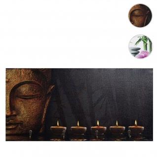 Foto-Wandgarderobe HWC-C75, Garderobe Wandbild, 4 Haken 60x30cm ~ Buddha