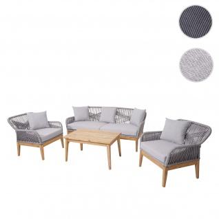 Gartengarnitur HWC-H56, Lounge-Set Sitzgruppe Sofa, Seilgeflecht Massivholz Akazie Spun Poly ~ Kissen hellgrau