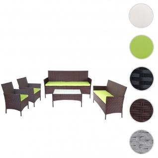 3-2-1-1 Poly-Rattan Garten-Garnitur Halden, Lounge-Set Sitzgruppe Sofa ~ braun-meliert, Kissen grün