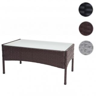 Poly-Rattan Gartentisch Halden, Beistelltisch Tisch mit Glasplatte ~ braun-meliert