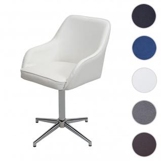 Esszimmerstuhl HWC-F82, Küchenstuhl Lehnstuhl, höhenverstellbar Drehmechanismus ~ Kunstleder weiß, Chromfuß