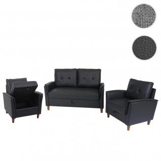 2-1-1 Couchgarnitur HWC-H23, 2er Sofa Sofagarnitur Loungesessel Relaxsessel, Gastronomie Staufach ~ Kunstleder, schwarz