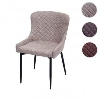 Esszimmerstuhl HWC-H79, Küchenstuhl Lehnstuhl Stuhl, Vintage Metall ~ Stoff/Textil grau