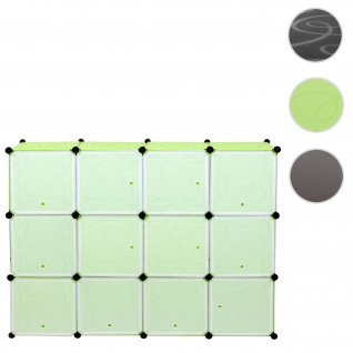 Regalsystem Sydney T307, Steckregal Schrank Aufbewahrung, 12 Boxen je 36x36x36cm grün