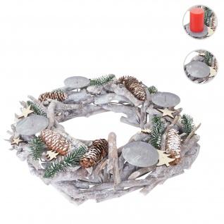 Adventskranz XXL rund, Weihnachtsdeko Tischkranz, Holz Ø 48cm weiß-grau ~ ohne Kerzen