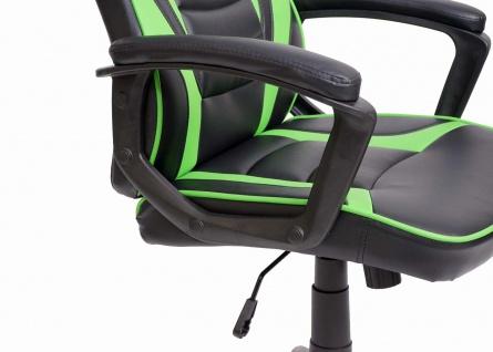 Bürostuhl HWC-F59, Schreibtischstuhl Drehstuhl Racing Chair Gaming-Chair, Kunstleder ~ schwarz/grün - Vorschau 3