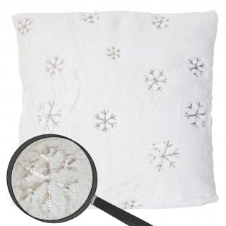 Deko-Kissen Schnee, Sofakissen Zierkissen mit Füllung, flauschig weiß Pailletten 45x45cm