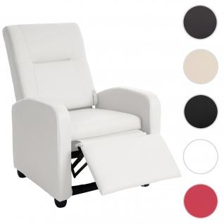 Fernsehsessel Denver Basic, Relaxsessel Relaxliege Sessel, Kunstleder weiß